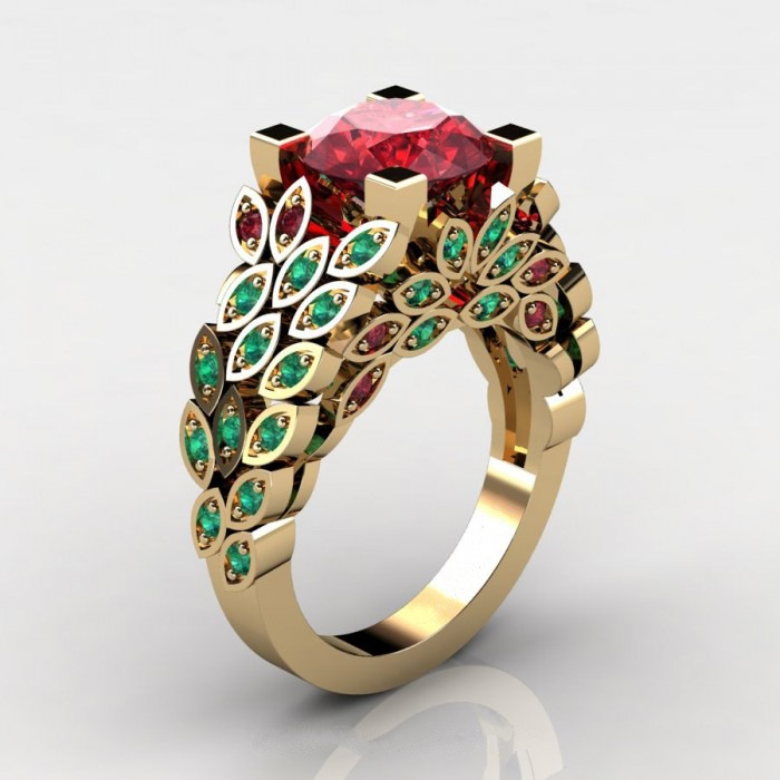 Natural Gemstone Topaz Leaf Ring 2