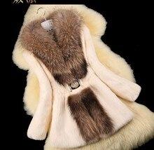Осень Женская Природа кролик Мех животных куртка енота меховой воротник зима Для женщин Мех животных Тренчи для женщин верхняя одежда Пальто для будущих мам плюс Размеры 4XL 5XL