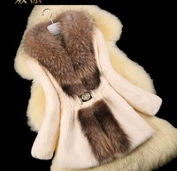 Autumn Ladies Nature Rabbit Fur Coat Jacket Raccoon Fur Collar Winter Women Fur Trench Outerwear Coats
