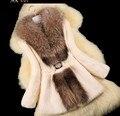 Otoño Señoras Naturaleza Rabbit Fur Coat Chaqueta de Cuello de piel de Mapache Invierno Mujeres Fur Trench Abrigos Más El Tamaño 4XL 5XL