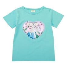 цена на Face change color magic color mini T-shirt sequin T-shirt girls T-shirt birthday gift