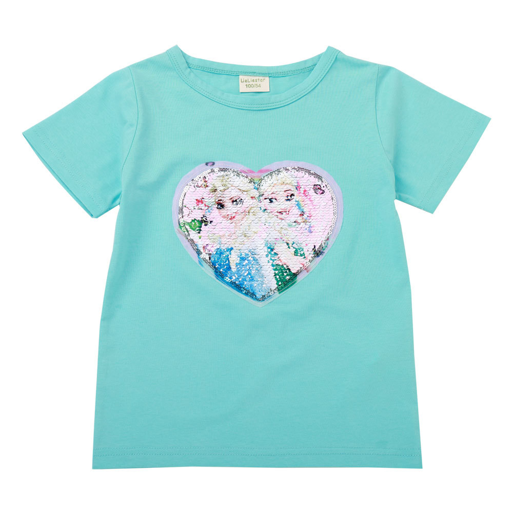 Face change color magic color mini T-shirt sequin T-shirt girls T-shirt birthday gift image