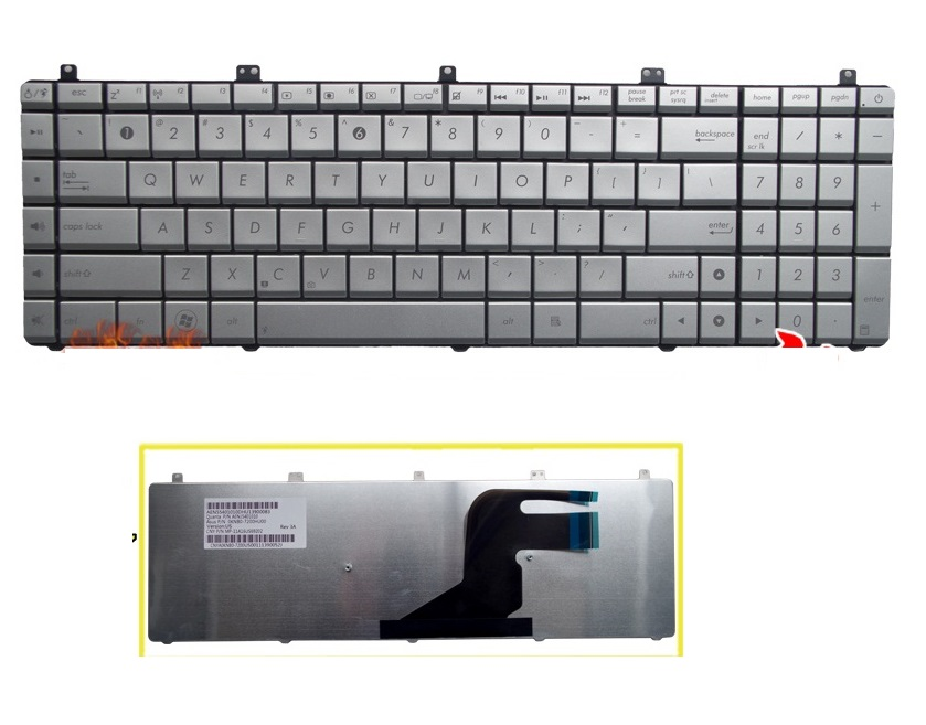 SSEA NEW US <font><b>Keyboard</b></font> For <font><b>ASUS</b></font> N55 <font><b>N55S</b></font> N55SF N55SL SILVER <font><b>keyboard</b></font> image