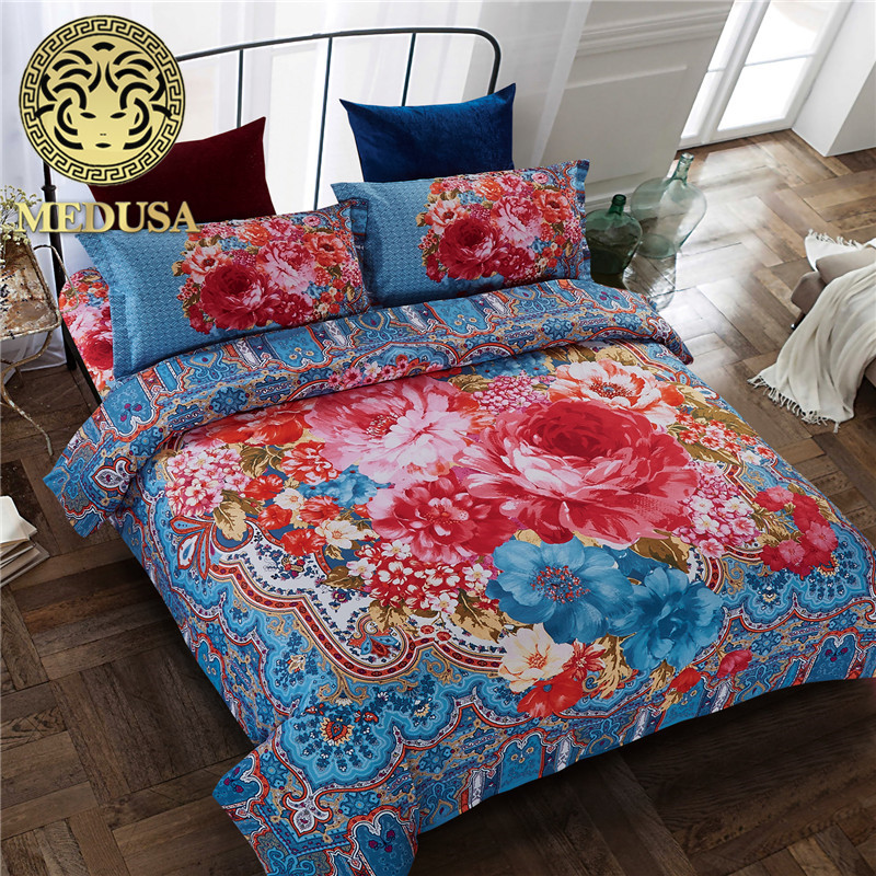 Medusa India Boho peony bedding set duvet cover bed sheet pillow cases queen size 4pcs bed linen setMedusa India Boho peony bedding set duvet cover bed sheet pillow cases queen size 4pcs bed linen set