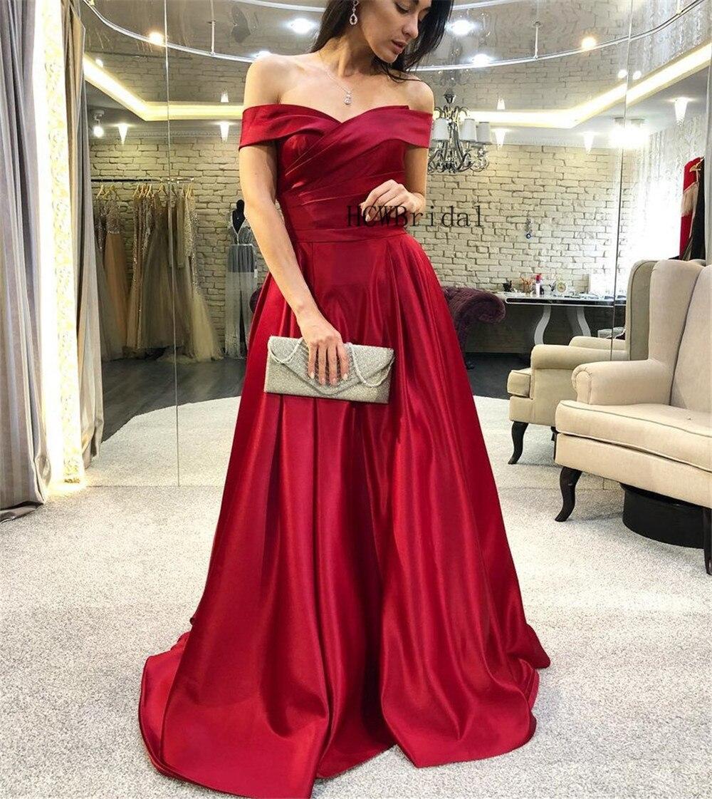 2019 Burgundy Satin Elegant Long   Prom     Dresses   Off The Shoulder Boat Neck A Line Cheap Women Occasion   Dress   Vestido De Festa