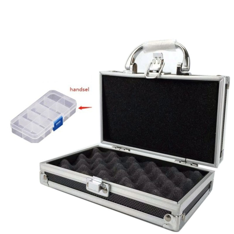 Aluminium Tool Box Portable Small Storage Case Handheld Safety Equipment Instrument Box With Sponge Lining 180x110x55mm