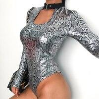 Elegant Sexy Choker Silver Leopard Skin Print Metallic Woman Bodysuit Long Sleeve Womens Bodysuits
