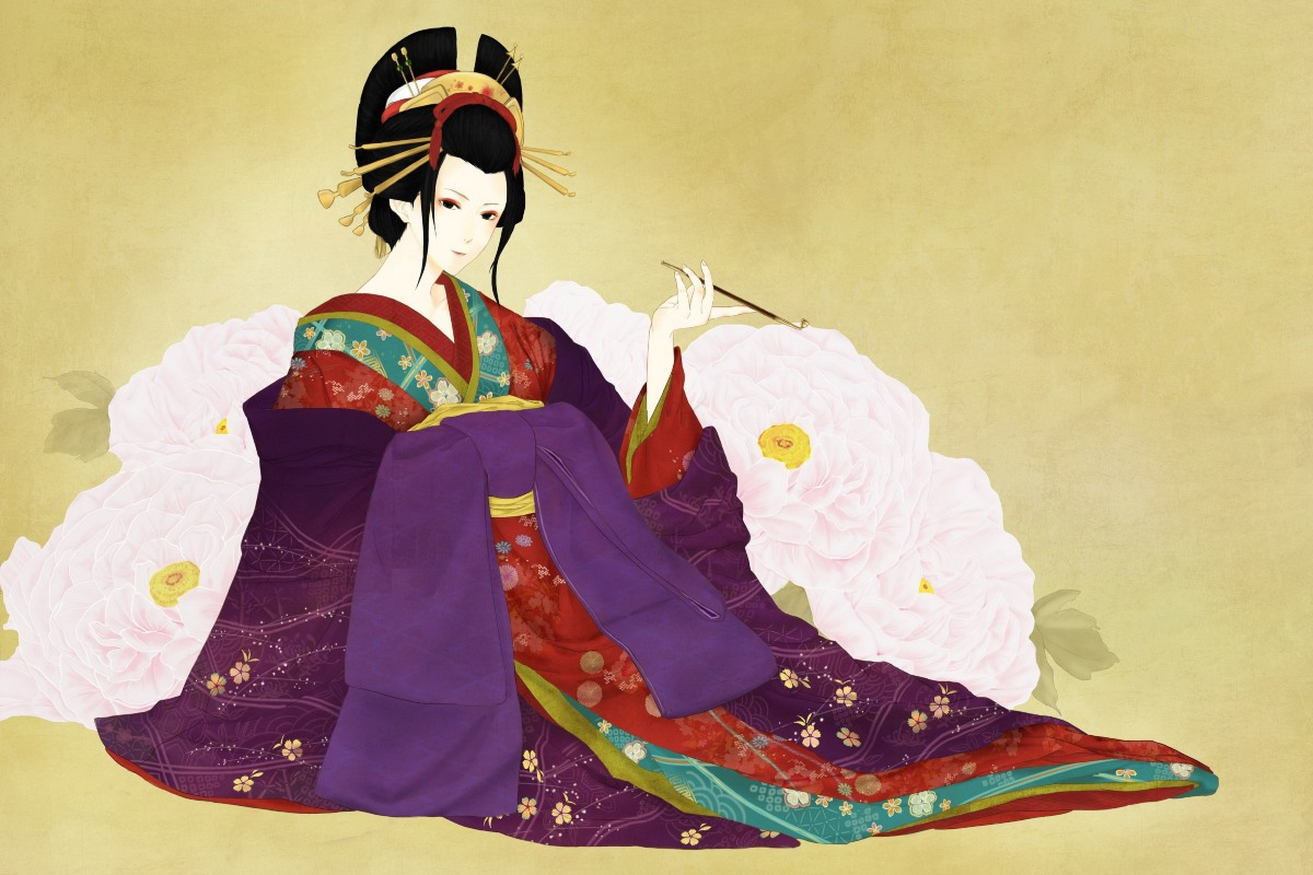 art girl Japanese geisha with kimono PDM164 custom print fabric ...