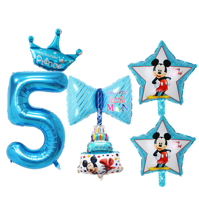 6pcs Set Baby Girl Boy 5 Years Old Birthday Balloons Star Heart Digital Foil