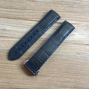 Image 5 - 20mm 22mm Dark Blue Black Brown Rubber With Leather Watch Band Strap For OMEGA Planet Ocean Seamaster 300 Speedmaster Bracelet