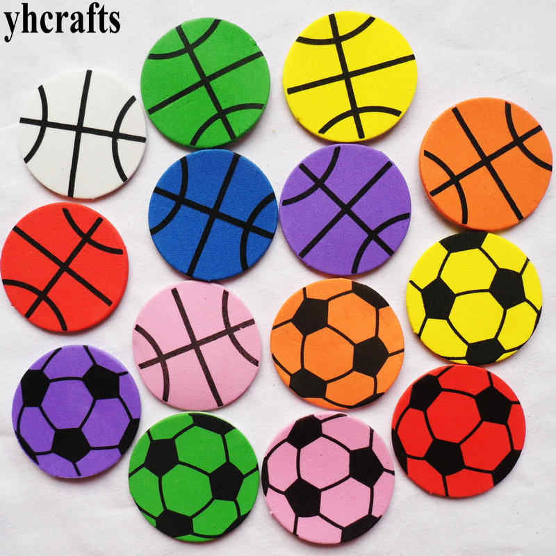 35PCS/LOT,Football basket ball foam stickers Kids toy baby room decoration Early educational toys Color learning Kindergarten