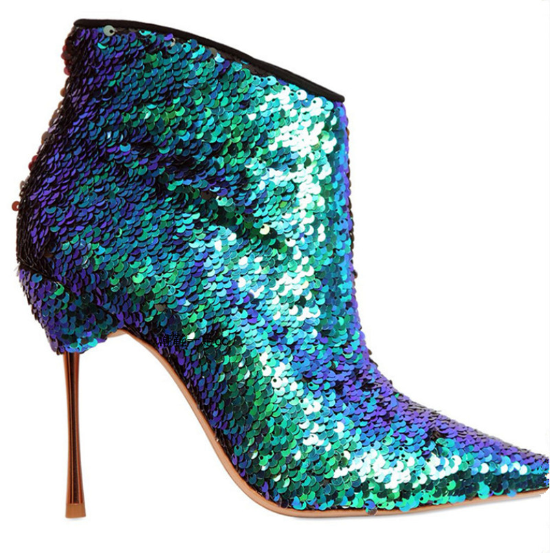 2016 Blue Glitter Ankle Boots Show Fashion Thin High Heels Shoes Woman  Pointed Toe Wedding Shoes Sexy Zapatos Mujer Women Boots df4db39a8c