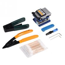 1 Set FTTH Splicing Splice Fiber Optic Stripping Tool Kit Set With Fiber Cleaver Fiber Optic Stripper Hand Tools proskit 8pk ma009 200x fiber optic viewing scope kit black transparent