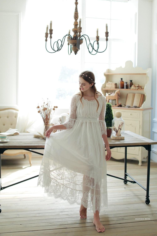 Free Shipping 2016 New Spring Princess Nightdress Royal Pyjamas Women s Long Nightgown White Lace Sleepwear