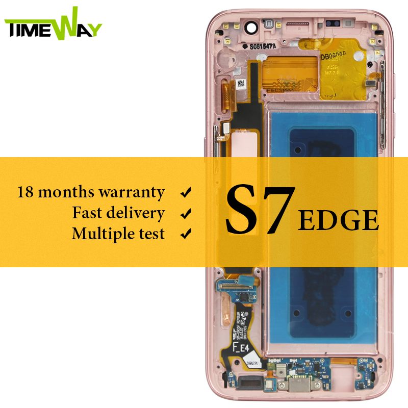 Affichage à cristaux liquides de catégorie pour l'affichage d'affichage à cristaux liquides de bord de Samsung S7 avec l'assemblage d'écran tactile de cadre pour le numériseur d'affichage à cristaux liquides de Samsung G935F Super AMOLED