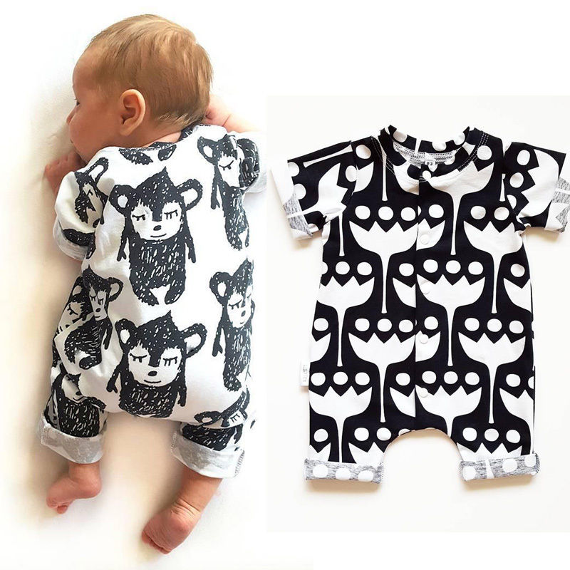 Newborn Baby Kids Boy Girl Cartoon Monkey Romper Clothes Short Sleeve Bebes Infant Jumpsuit One Pieces Outfits Clothing 2016 newborn baby rompers cute minnie cartoon 100% cotton baby romper short sleeve infant jumpsuit boy girl baby clothing