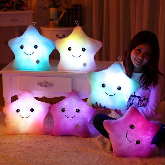все цены на 36*36 cm blue Luminous pillow Christmas Toys, Led Light Pillow,plush Pillow, Hot Colorful Stars,kids Toys, Birthday Gift онлайн
