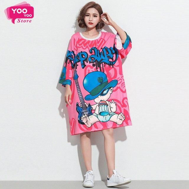 Rosa de impresión T camisa Más Tamaño Vestido de Anime vestido de camisa  Larga T Camiseta 00ba79dcf42