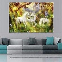 Pretty White Unicorn Artwork for Bedroom Decoration Thomas Kinkade Painting Prints Canvas Unicorn Picture High Quality Art Wall