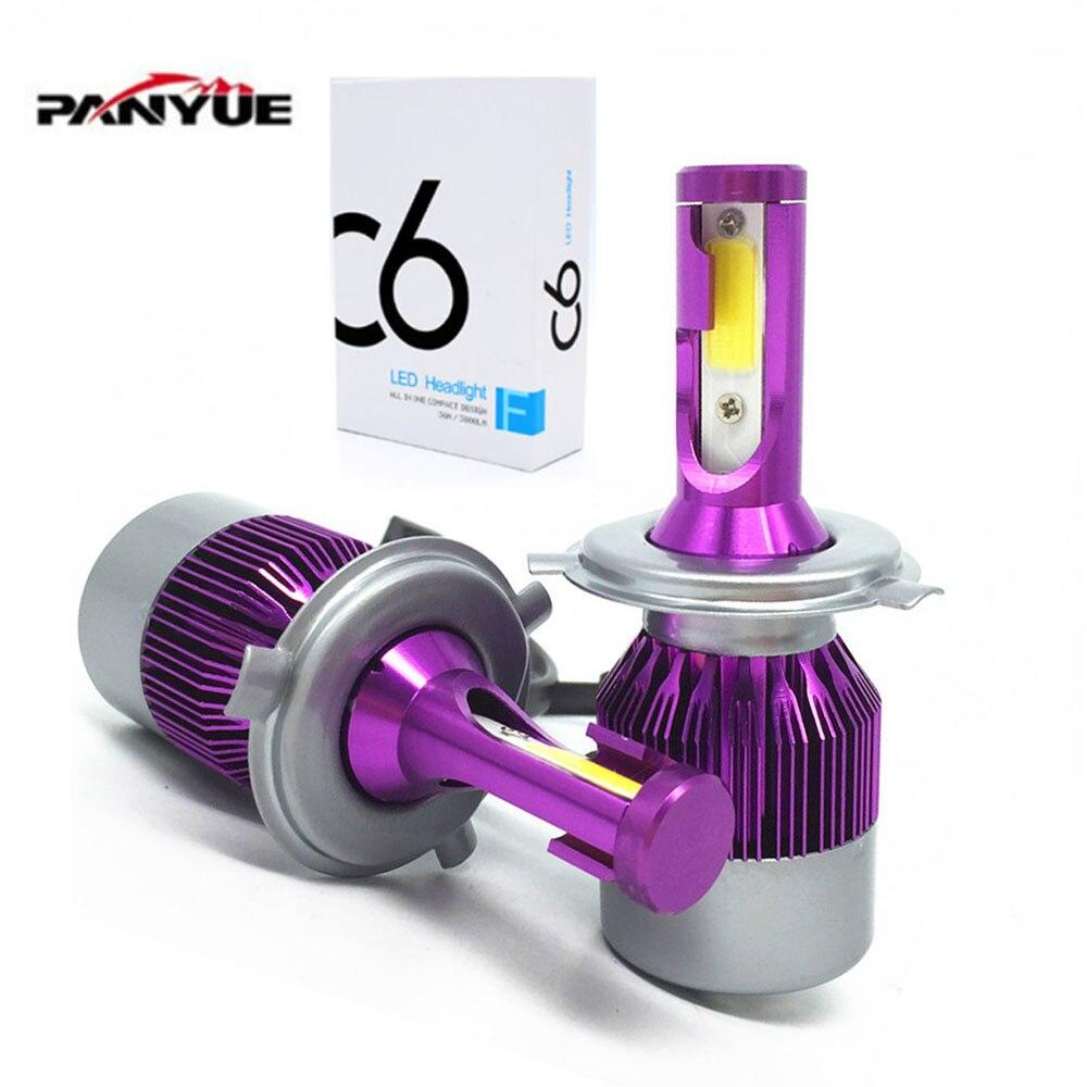 PANYUE LED Car Headlights COB H4 H7 Auto Head Lamp Lights 36W 7600LM Head Bulbs H1