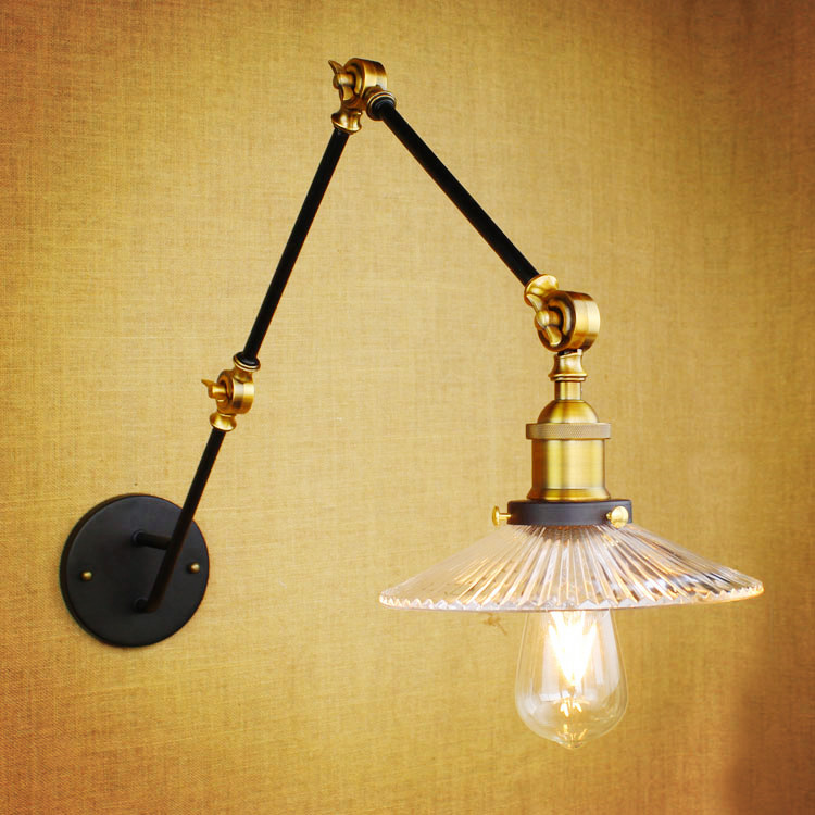 Glass Adjustable Swing Long Arm Wall Light Vintage Wall Lamp Retro Edison Industrial Wall Sconce Arandela Aplique Murale LED beibehang luxury leather papel de parede 3d wall paper modern vintage wallpaper for wall 3d living room wall covering decor
