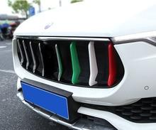 3pcs for Maserati Levante front grille Three Decorative strip sticker Flag color of Italy