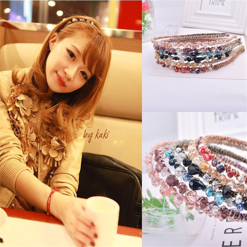 Women Lady Elastic Fashion Metal Rhinestone Head Chain Jewelry Headband Hairband Hair Band Accessories AF21 in Hair Accessories from Mother Kids