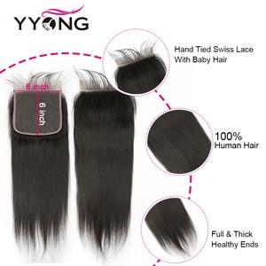 Image 5 - Yyong Hair Peruvian Straight 4x4& 6x6 Closure With Bundles 4pcs Lot 8 30 Inch Remy Straight Human Hair Bundles With Lace Closure