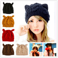 2 pcs / lot 2016 fashion women autumn winter hats Eight words twist woolen yarn knitted warm hats female's cat ears caps beanies