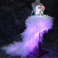 LZ11 RGB colorful light Trailing long dresses women stage sexy luminous skirt led costume ballroom dance wears party performance
