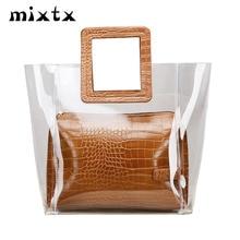 Transparent PVC Beach Handbag Women Shoulder bag Hot Sale Jelly Clear Totes Female High Quality Crocodile pattern Composite Bag
