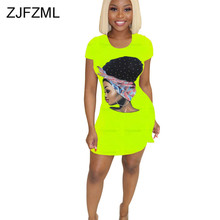 Neon Green Yellow Sexy T Shirt Dress For Women Round Neck Short Sleeve Club Party Dress Summer Character Print Plus Size Dresses stylish round neck short sleeve slit plus size dress for women