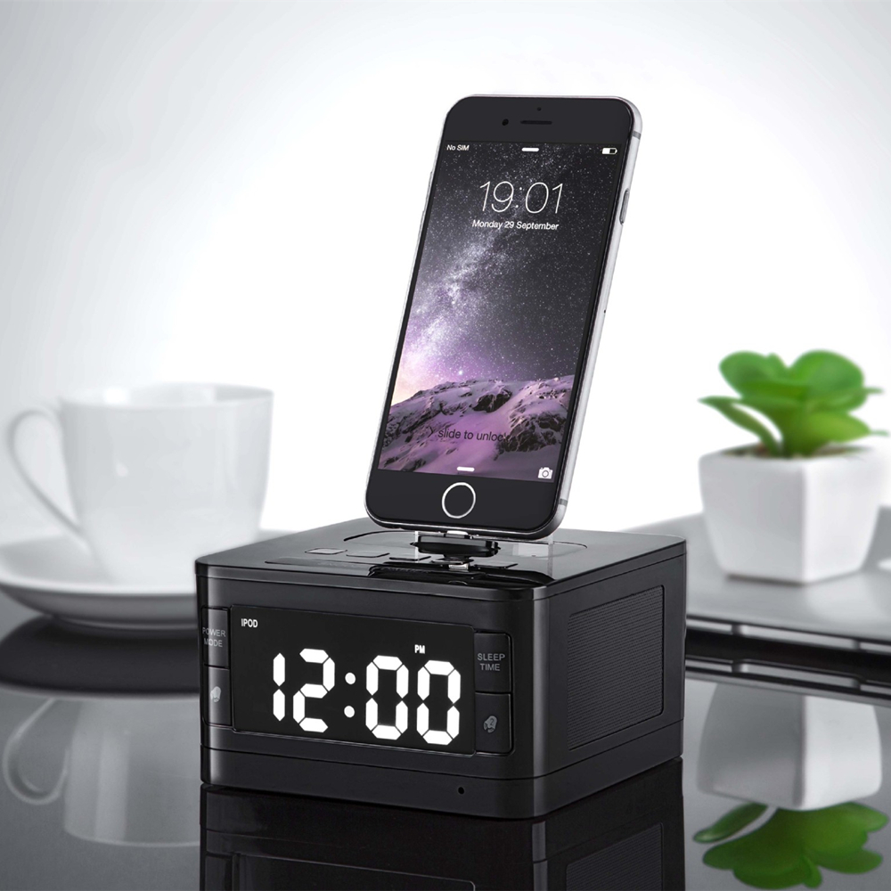 T7 8 Pin Charger Dock Station Fm Radio Alarm Clock Portable Audio Music Wireless Bluetooth Speaker for iPhone 8 8 Plus X 7 6S 6 5pcs pocket radio 9k portable dsp fm mw sw receiver emergency radio digital alarm clock automatic search radio station y4408