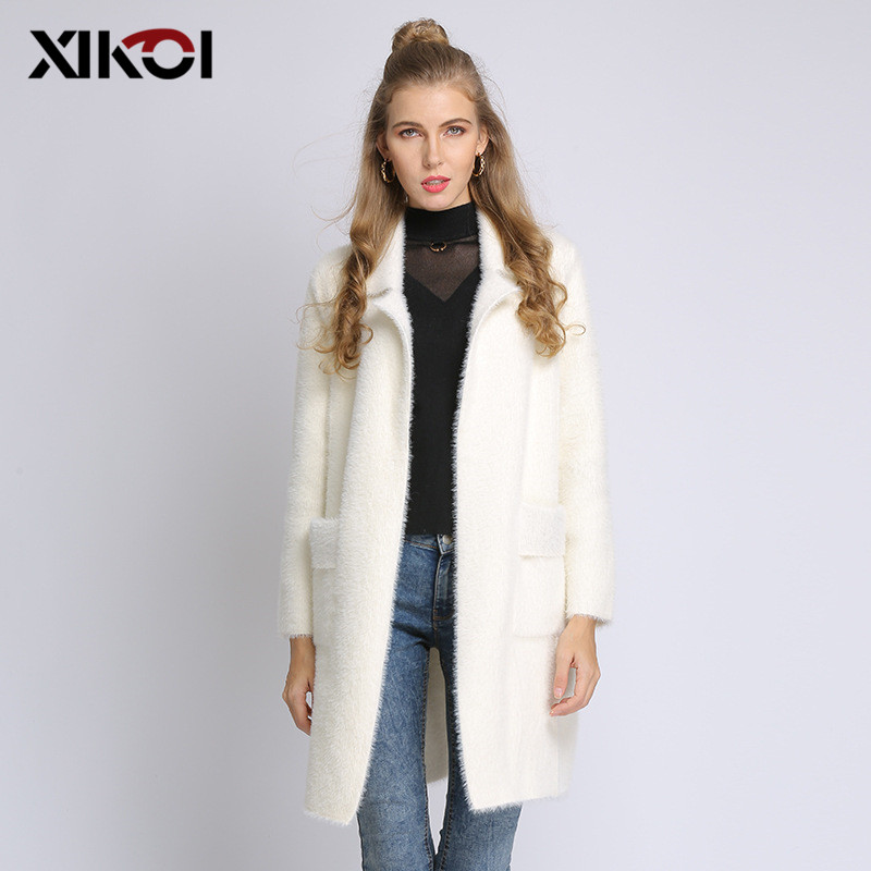 Women Long Sweater Coat Autumn Winter Free Size Turn Down Collar Cardigans Sweater for Women Casual