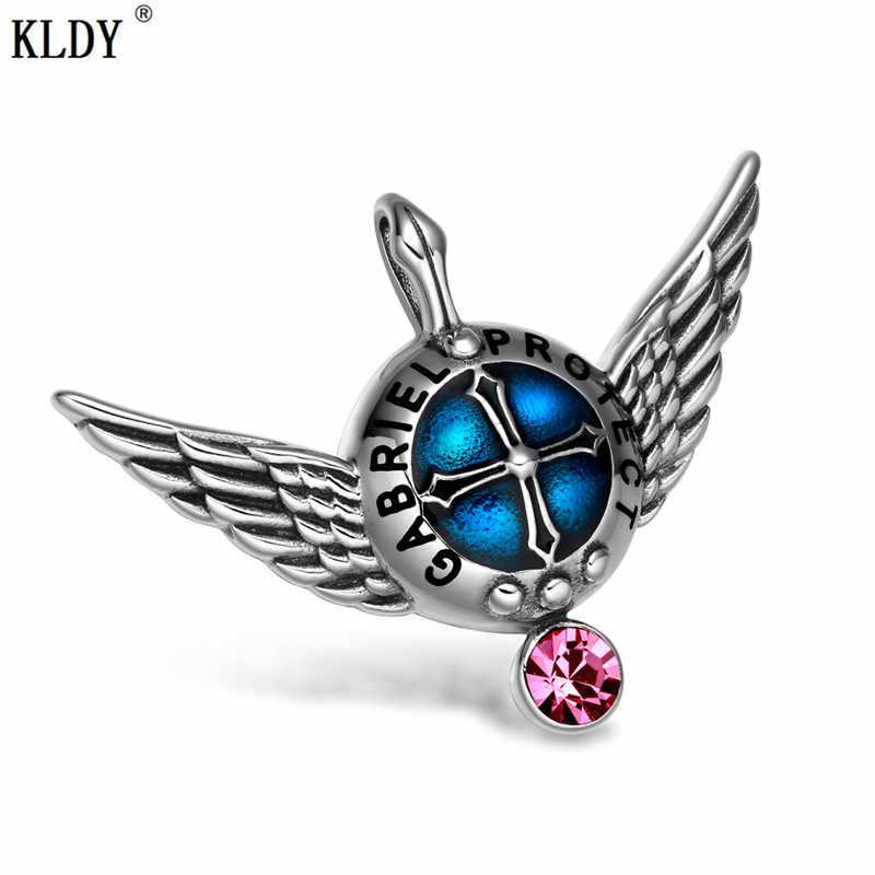 KLDY różowy kryształ wisiorek skrzydła anioła warstwa ochronna magiczny urok biżuteria ze stali nierdzewnej strażnik miłości kryształowy naszyjnik