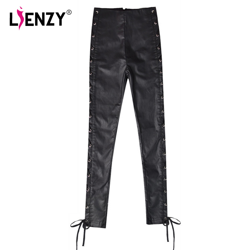 LIENZY Winter Sexy Women Pu Leather Pant Bandage Side Tourers Push Up High Waisted Long Pants Black Thin Stretch Female Bottom