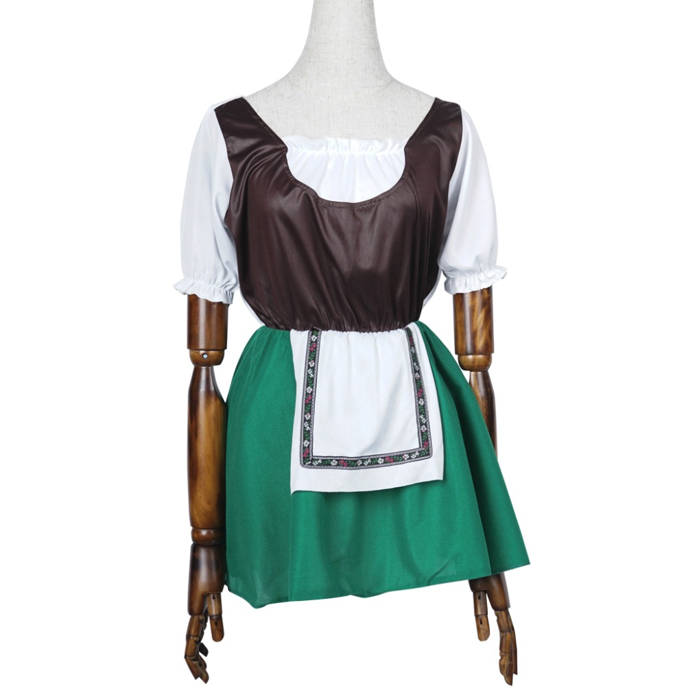 Women Maid Costume Cosplay Party Carnival Short Sleeve Fancy Dress for Girl Adult with Green Apron