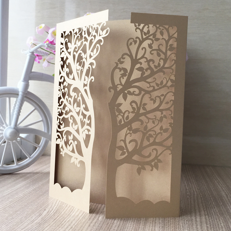 30pcs lot laser cut tree inviting card paper party event for Vita craft factory outlet