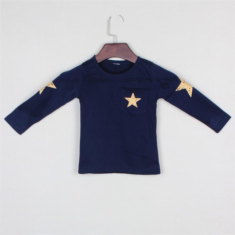 New 2018 Details Hot Sale Boys  Long Sleeve Tops,Children Cotton T-shirt ,Cartoon Star T Shirt , Age 2~8Y