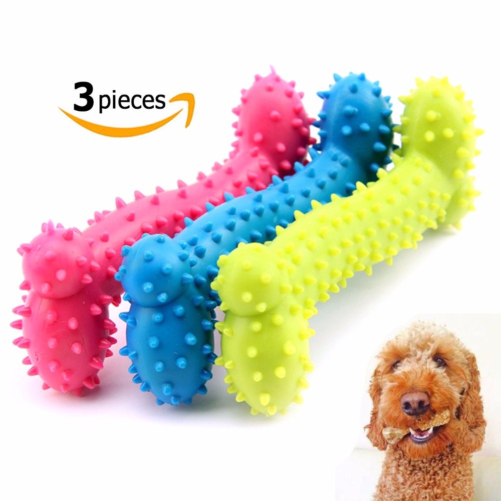 3pcs Pet Toy Dog Chew Bones Molar Teeth Clean Teeth Bite Bones Resistant Rubber Pig Bone Big Small And Medium Sized Dog Toys in Dog Toys from Home Garden