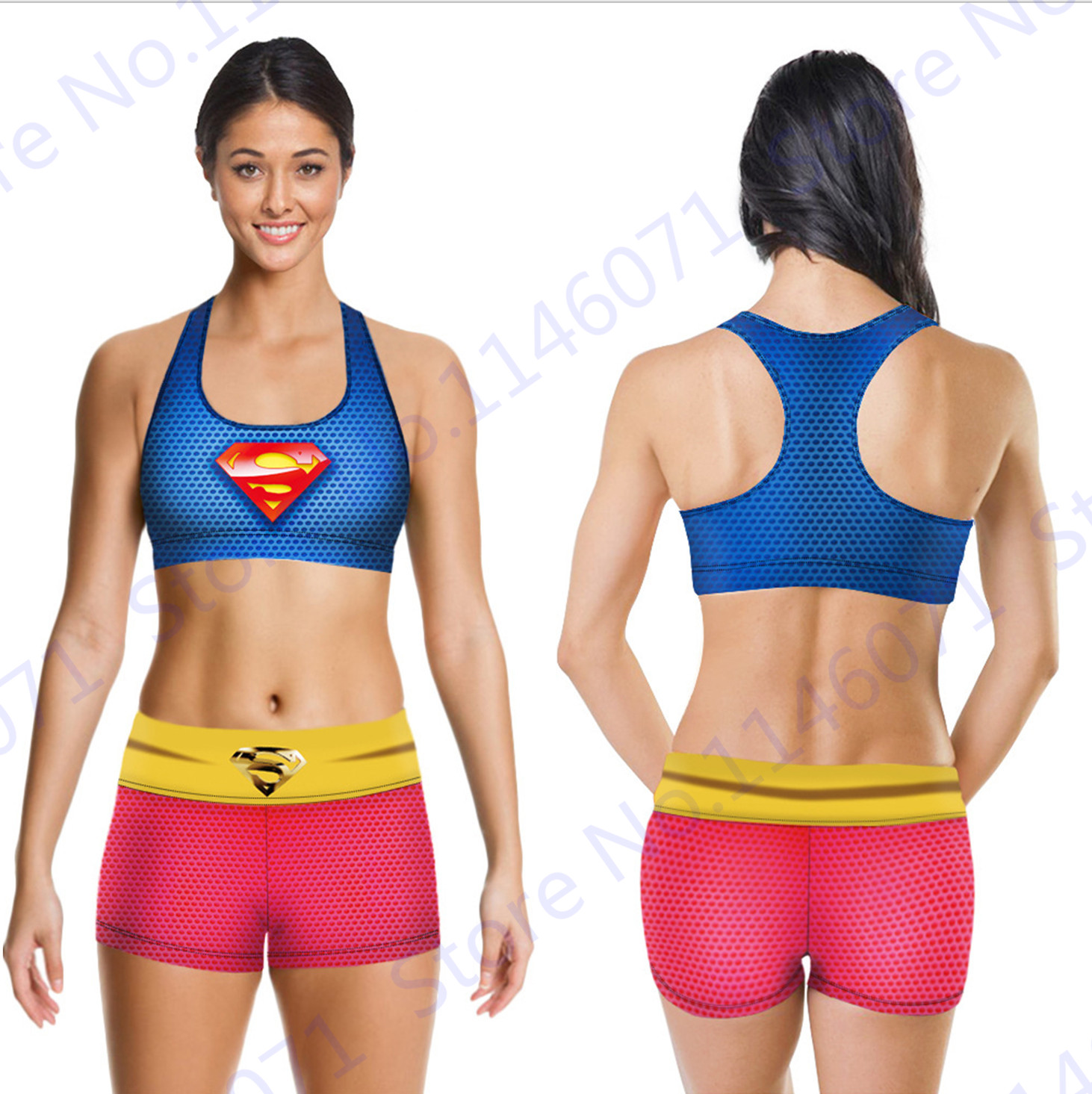 20~27Day Delivery+ Red Superman Sports Bra Padded Running