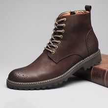 Winter Cow Leather Ankle Boots Men Retro Bullock Carving Flower Martin Boots