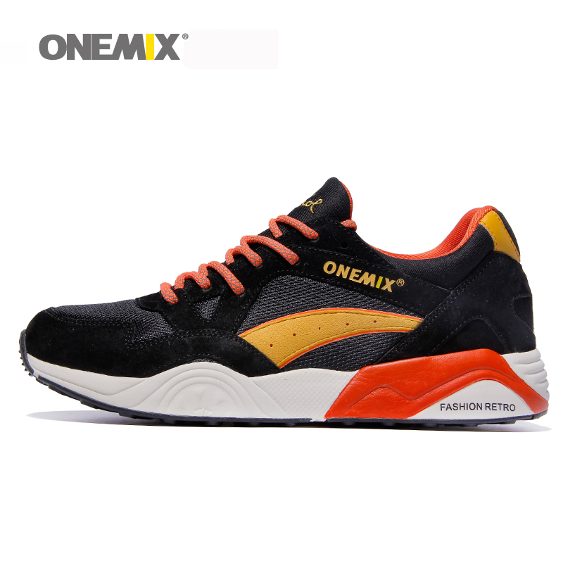 Onemix retro running shoes breathable men's track shoes male outdoor sport sneakers in black boy jogging shoes free shipping
