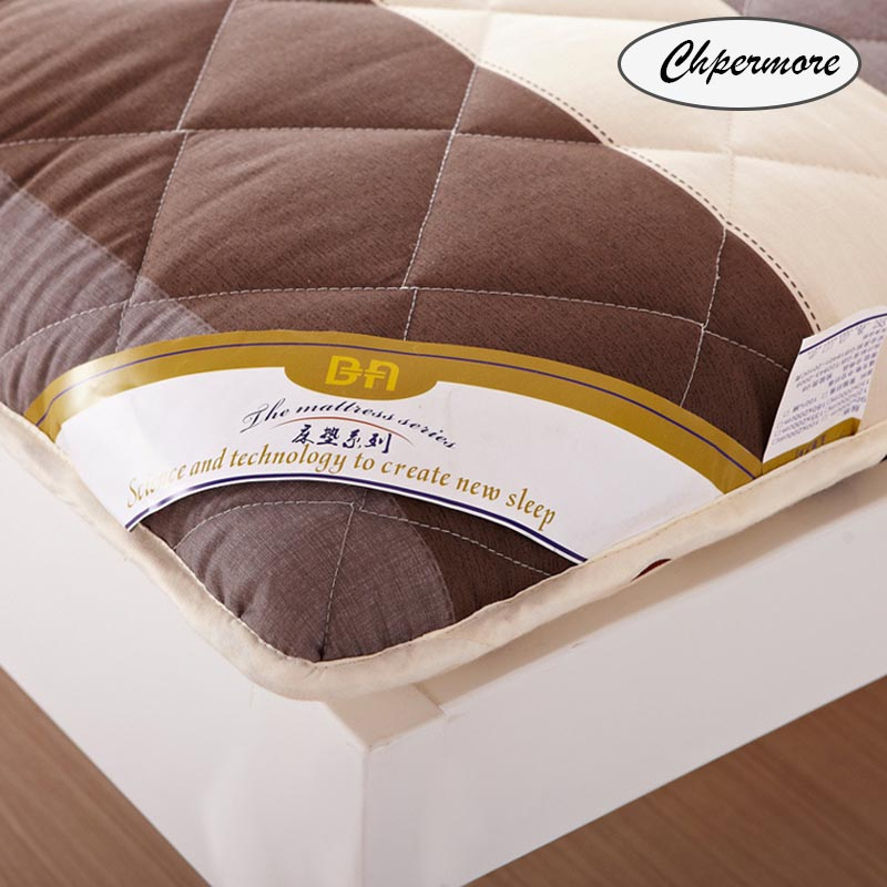 Image 3 - Chpermore Thicken Brown stripe Mattresses Keep warm Foldable Tatami 100% cotton Mattress Cover For Family Bedspreads King Size-in Mattresses from Furniture