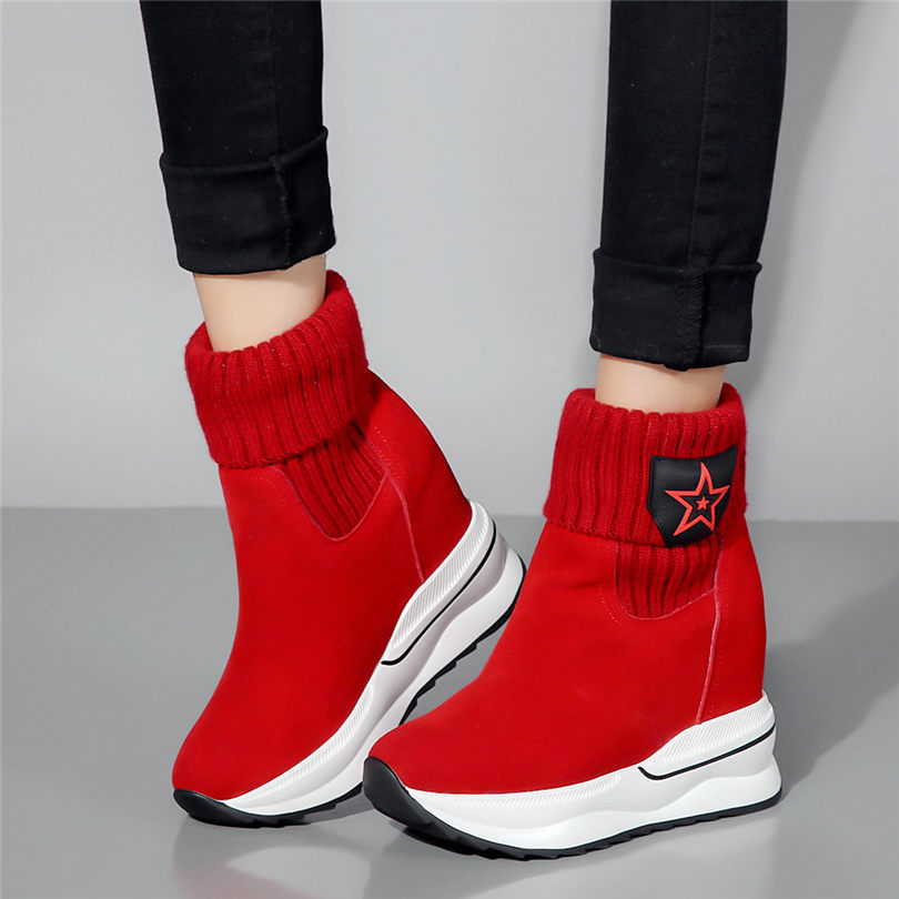 2019 Creepers Women Trainers Shoes Genuine Leather Wedges High Heel Party Pumps Punk Platform Sneakers Casual Shoes Tennis Shoes