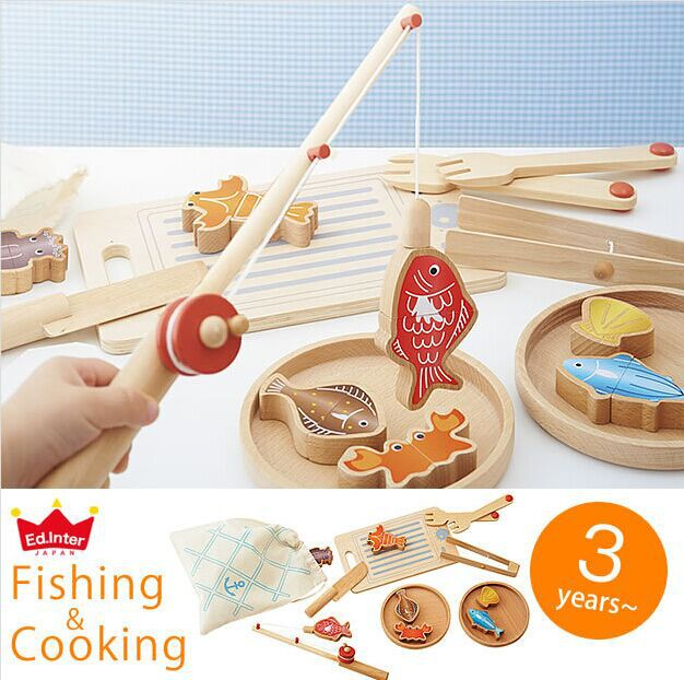 US $37.8  Eksport Japan Wielofunkcyjne Dzieci Drewniane kuchnia Gotowanie Połowów Zabawki Zabawne gry Zabawki Play House Jakości Darmowa wysyłka w