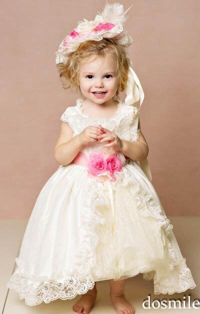 2016 White Ivory font b Princess b font Lace Baby Girl Flower Girl font b Dresses