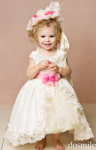 2016 White/Ivory Princess Lace Baby Girl Flower Girl Dresses for Birthday wedding party first communion dress Tulle Ball Gown