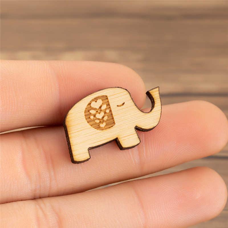 Yiustar Sederhana Berwarna Lucu Bahagia Mini Gajah Kayu Bros Pin Indah Hutan Kerah Pin untuk Wanita Anak Perempuan Cinta Hadiah