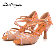 Ladingwu Dance Shoes Women Salsa Sneakers Satin and Net Comfortable Ballroom Brown Red Apricot Black